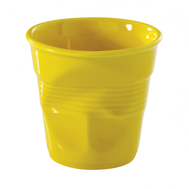 Crumpled coffee cup seychelles yellow