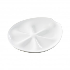 Impulse white porcelain oyster plate 6 holes