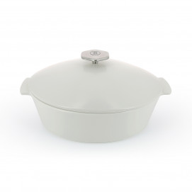 Revolution 2 oval cocotte 3.85QT satin white ceramic cookware induction