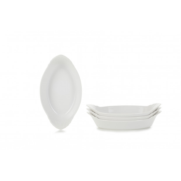 Set of 4 French Classics oval eared dishes 3 colors