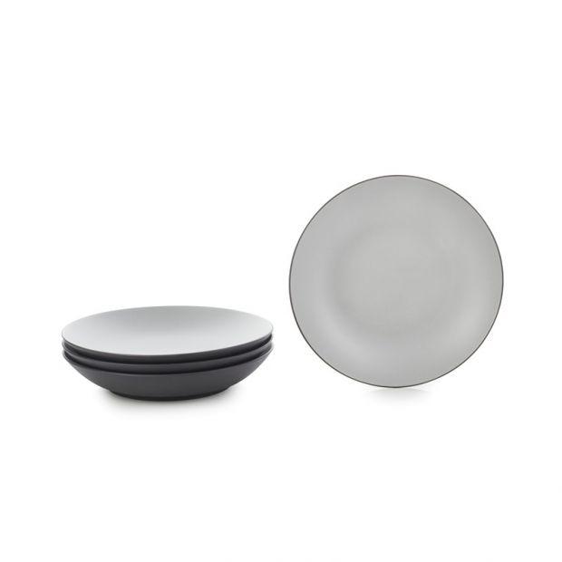 "Set of 4 Equinoxe coupe plates ø10.75"", 4 colors"
