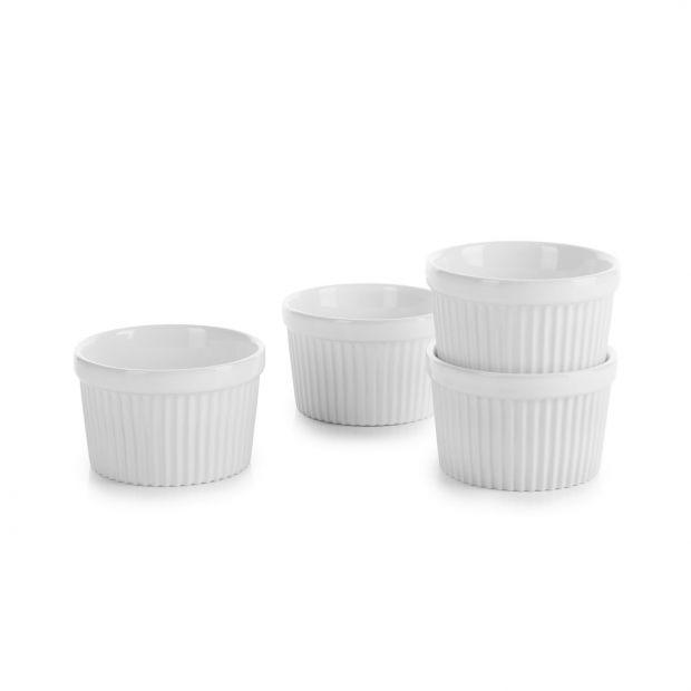 set of 4 white individual souffle