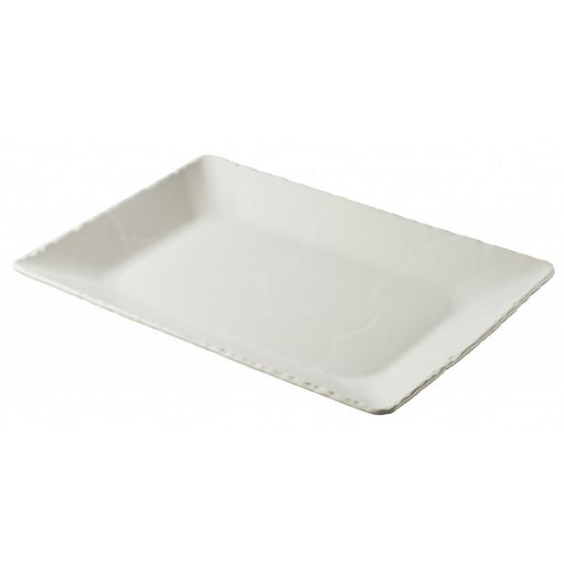 Basalt pearly white rectangular deep plate