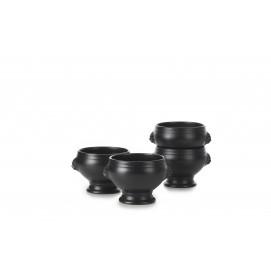 Set of 4 French Classics black cast iron style lion head soup bowls 12.25Oz