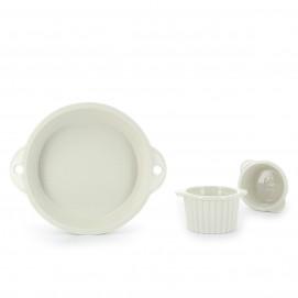 Set of 2 pieces Les Naturels soft cream cake pan & ramekins