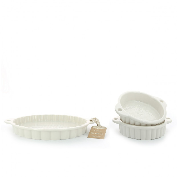 Set of 2 pieces Les Naturels soft cream tart dish & ramekins