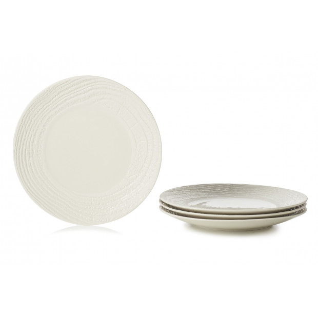 """Set of 4 Arborescence dinner plates 11.25"""" 3 colors"""