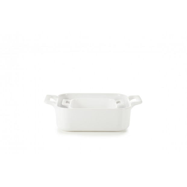 Set of 2 Belle Cuisine white square baking dishes