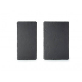 Set of 2 Basalt large and medium rectangular plates