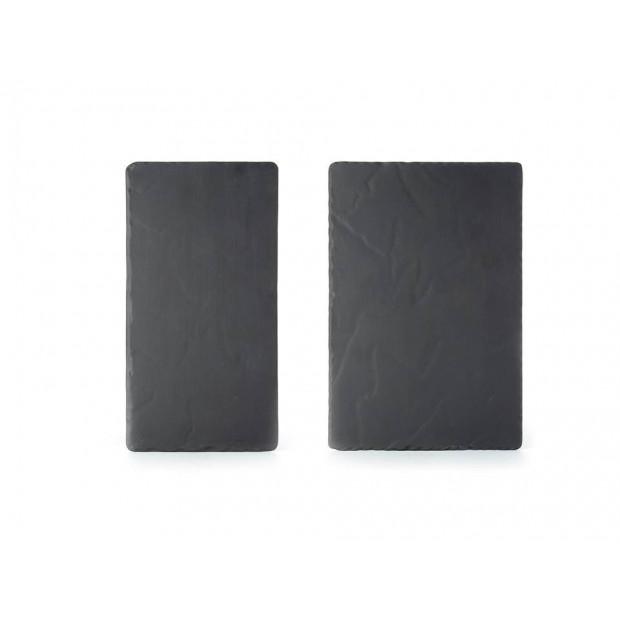 Set of 2 Basalt large and medium rectangular plates