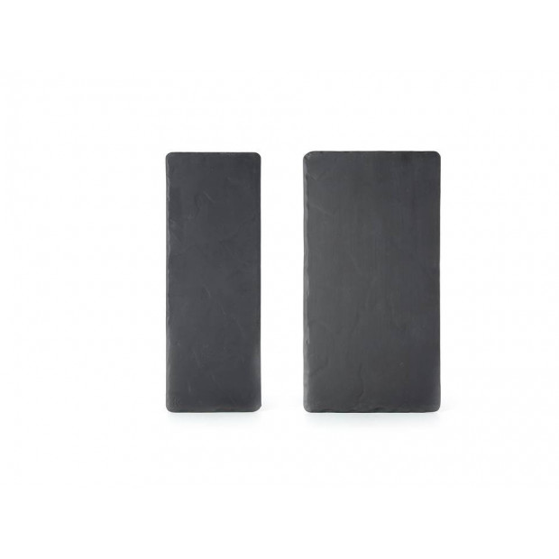 Set of 2 Basalt large and small rectangular plates