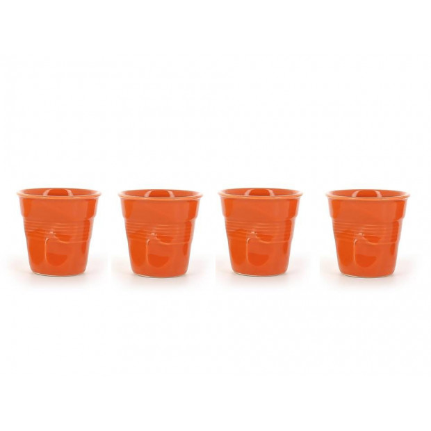 Set of 4 crumpled cups clementine