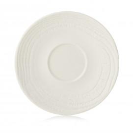 Sous-tasse en porcelaine effet bois - Ivoire