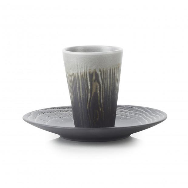 Tasse et soucoupe en porcelaine effet bois - Poivre