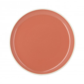 Assiette plate colorée en porcelaine - Orange Capucine