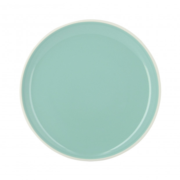 assiette plate color e en porcelaine vert c ladon. Black Bedroom Furniture Sets. Home Design Ideas