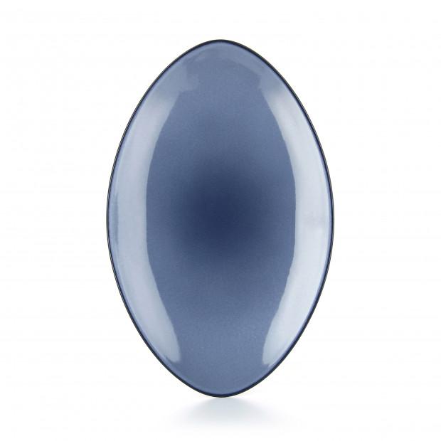 Assiette ovale en céramique - Bleu Cirrus
