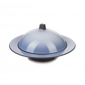 Ensemble Dim Sum cloche et assiette creuse en céramique - Bleu Cirrus