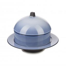Set Dim Sum panier, cloche, assiette creuse céramique - Bleu Cirrus