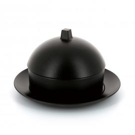Set Dim Sum panier, cloche, assiette en céramique - Noir effet fonte