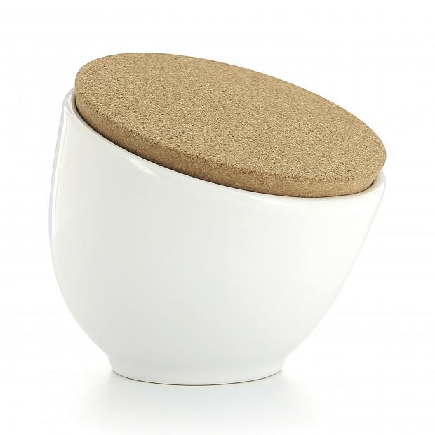 Pot à sel en porcelaine avec couvercle liège - Blanc