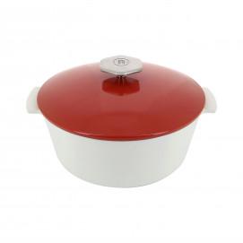 Cocotte ronde en céramique induction - Rouge Piment