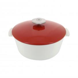 Cocotte ronde en céramique sans induction - Rouge Piment