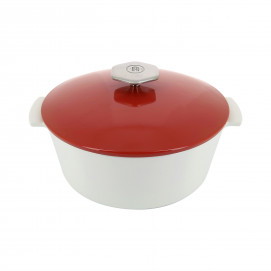 Cocotte ronde en céramique sans induction - Rouge Piment
