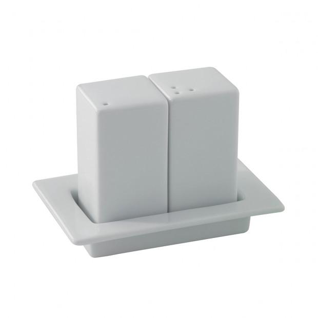 set salière et poivrière sur plateau en porcelaine blanche - les essentiels