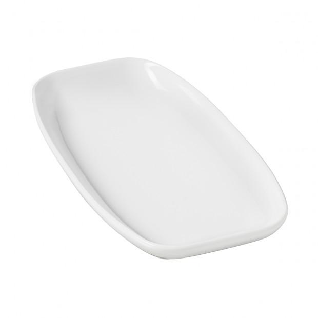 assiette rectangulaire en porcelaine blanche - club