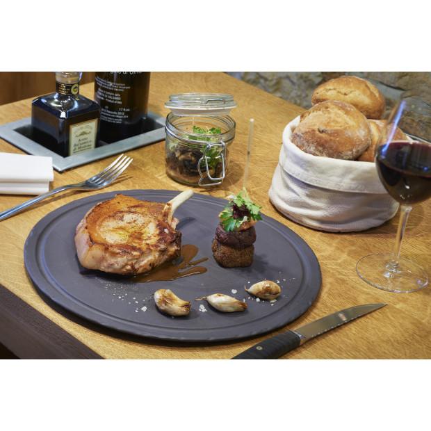 assiette a steak ronde en ceramique effet ardoise - basalt