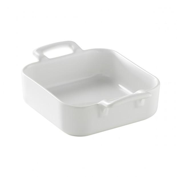 Plat carré profond en porcelaine blanche