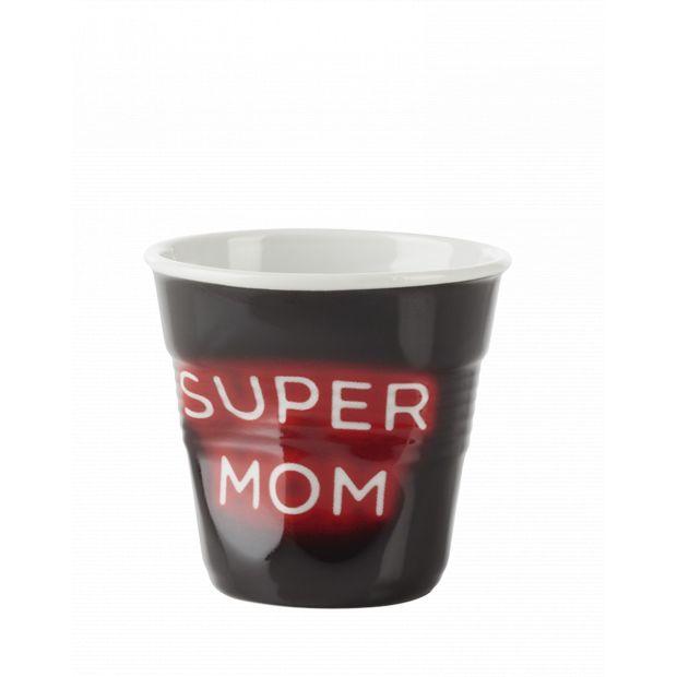 Froissé espresso décoré Néon Super Mom