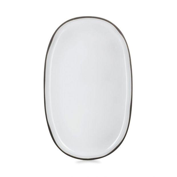 Assiette ovale Caractère 35 cm Blanc Cumulus