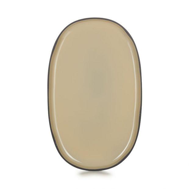Assiette ovale Caractère 35 cm Muscade