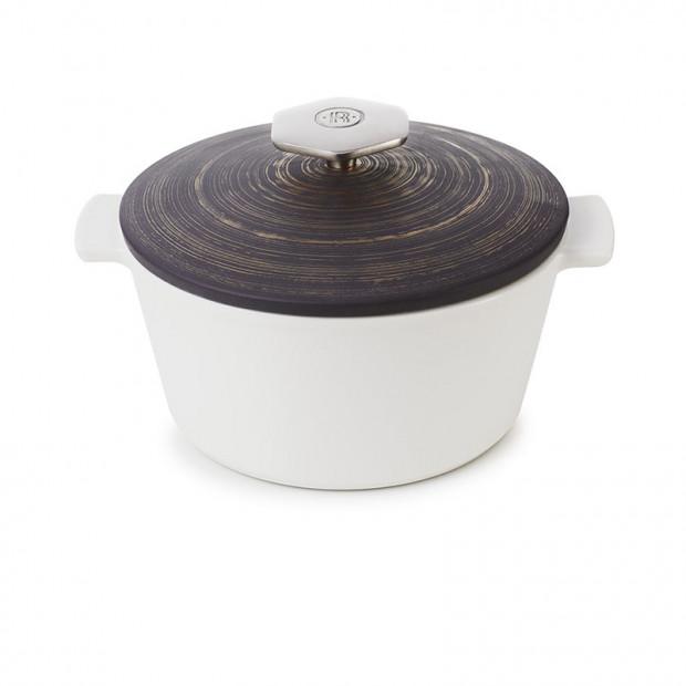 Cocotte ronde en céramique sans induction - Crescendo argenté
