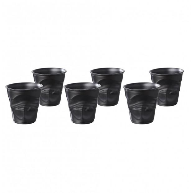 Lot de 6 gobelets froissés 5cl noir satiné