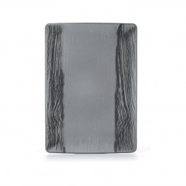 Wood-effect porcelain rectangular plate