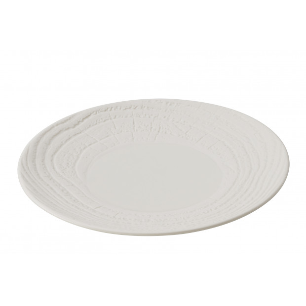 Flat wood-effect porcelain plate - Ivory