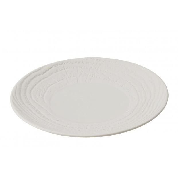 Flat wood-effect porcelain plate - Ivory