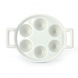 Porcelain escargot dish with 6 or 12 holes