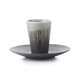 Wood-effect porcelain cup and saucer - Pepper