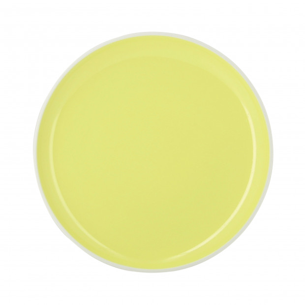 Coloured porcelain flat plate - Citrus Yellow