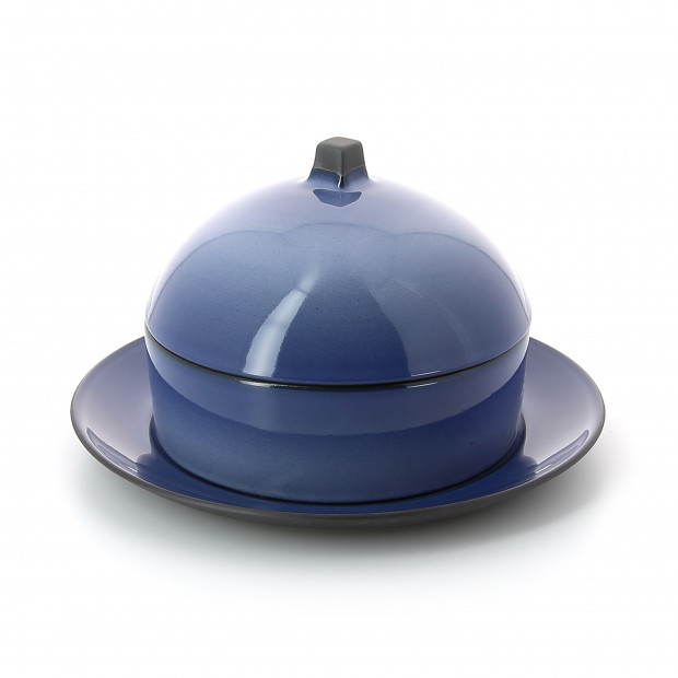 Dim Sum basket set with lid and ceramic plate - Cirrus Blue
