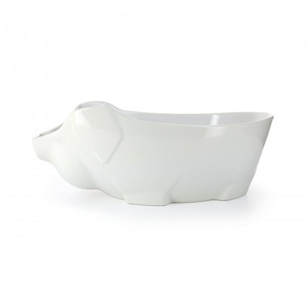 Porcelain pig dish - White