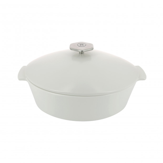 Oval casserole dish in ceramics, non-induction - Kilimandjaro White