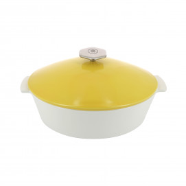 Oval casserole dish in ceramics, induction - Seychelles Yellow