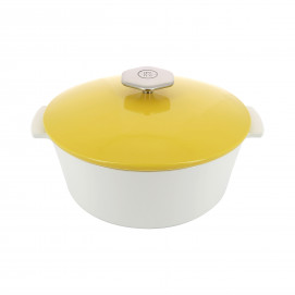 Round casserole dish in ceramics, non-induction - Seychelles Yellow