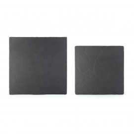 Square ceramic plate with slate effect